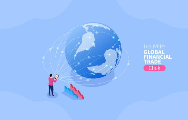 dystrybucja handlowa, globalny handel finansowy - globalny stock illustrations