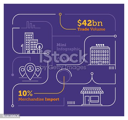 Vector Infographic Line Design Elements for Trade Economy