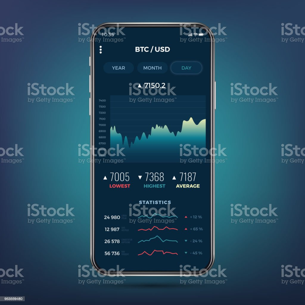 Trade exchange app on phone screen. Mobile banking cryptocurrency ui. Online stock trading interface vector eps 10 vector art illustration