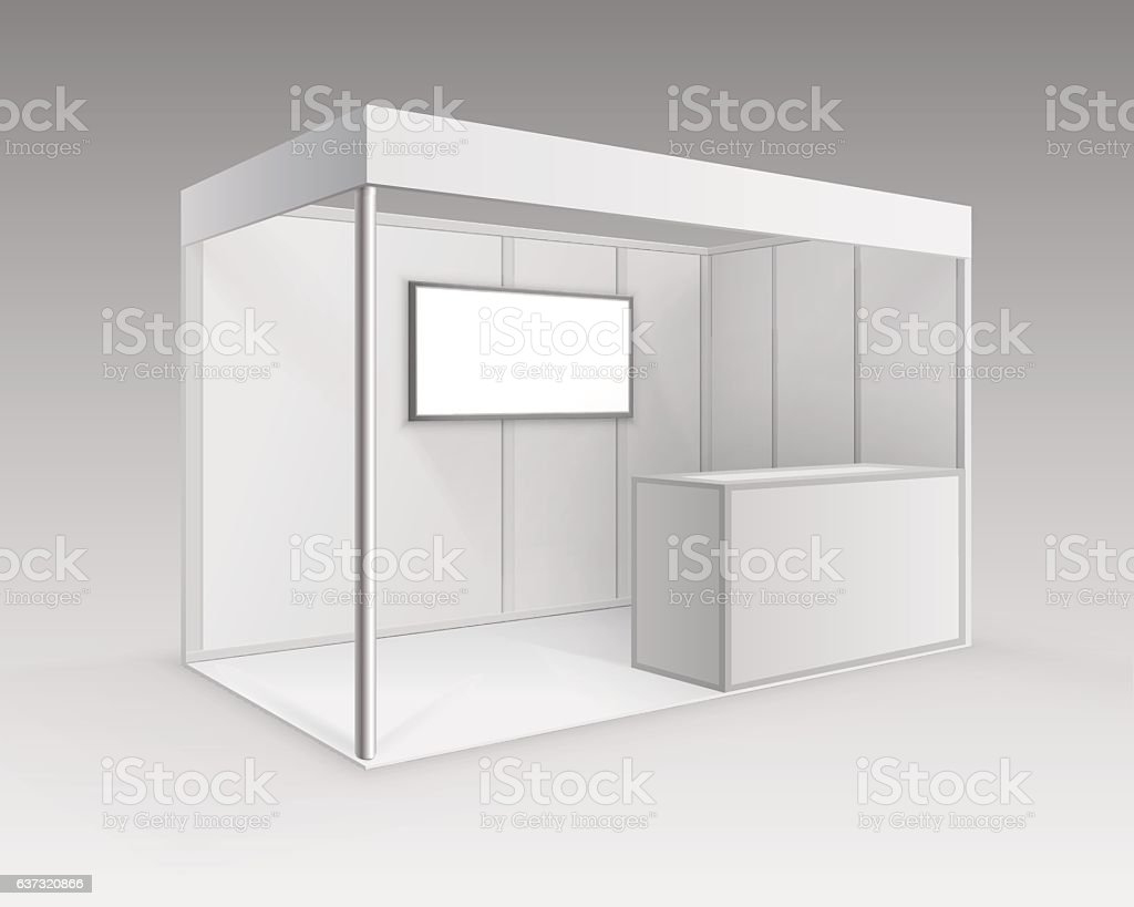 Trade exhibition Booth Standard Stand for Presentation with Counter Screen vector art illustration
