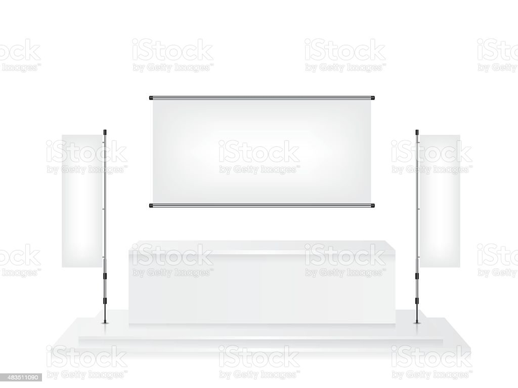 Trade exhibition stand and flag banner illustration vector art illustration