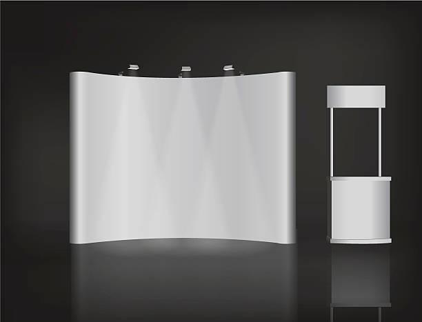 貿易展示スタンド、展示丸いスタンド、3 d レンダリング視覚化 - 展示会点のイラスト素材/クリップアート素材/マンガ素材/アイコン素材