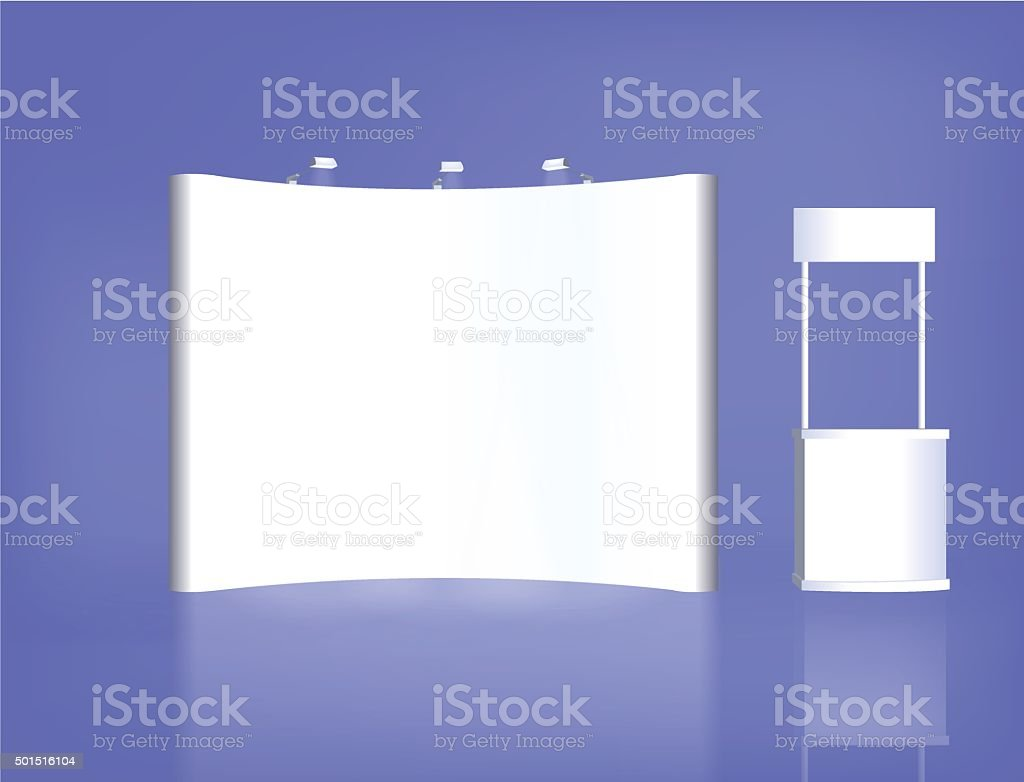 Trade exhibition stand, Exhibition Stand round, 3D rendering visualization vector art illustration