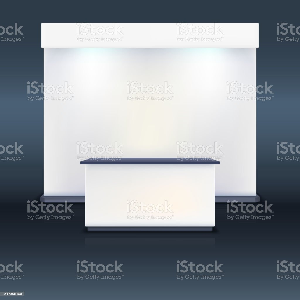 Trade exhibition stand with screen. vector art illustration