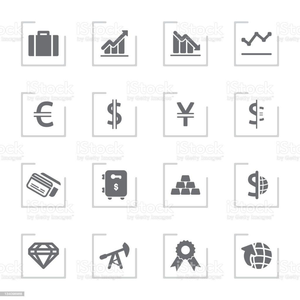 Trade & Finance Icons | Framed Grey royalty-free stock vector art