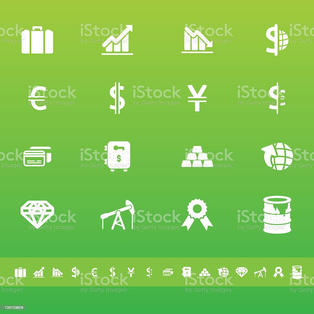 Trade & Finance Icons | White On Green royalty-free stock vector art