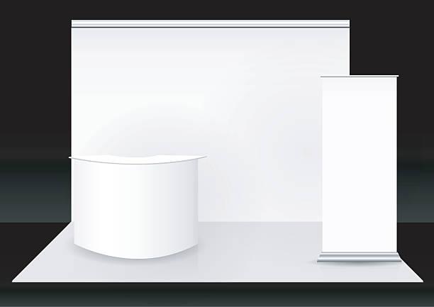 messe-booth - ausstellungstische stock-grafiken, -clipart, -cartoons und -symbole