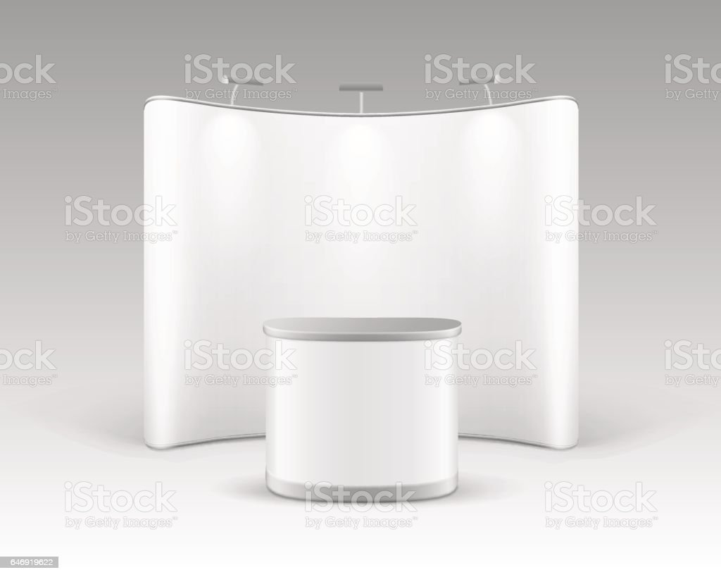 Trade Stand with Promotion Table and Backlights vector art illustration