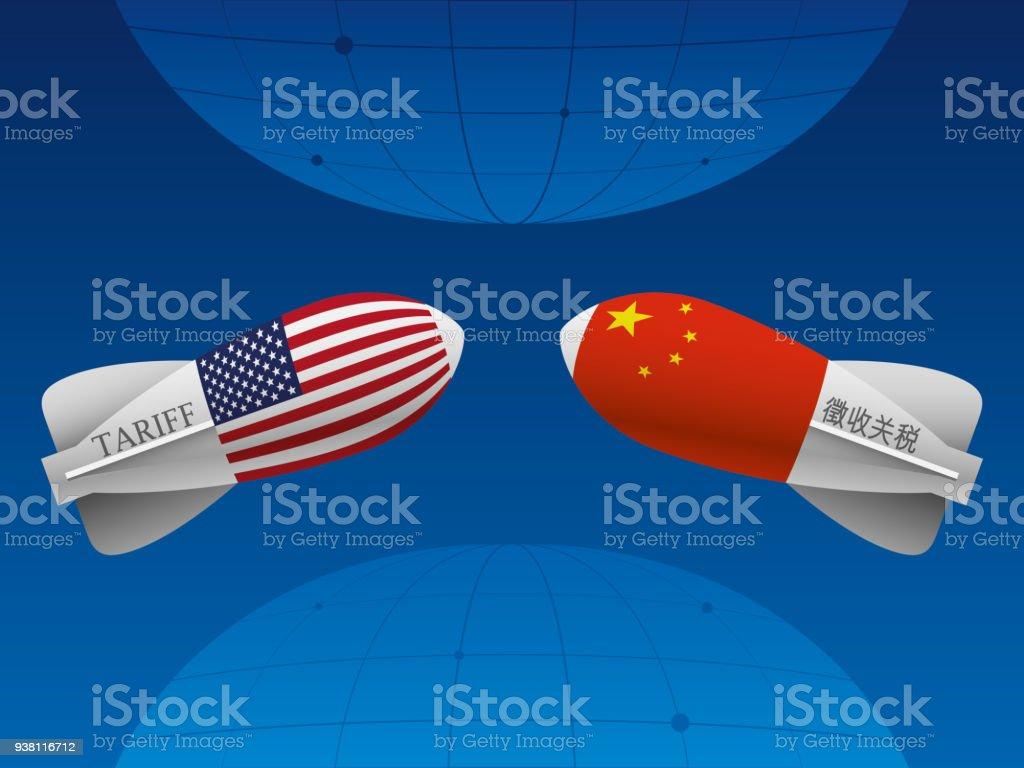Trade war between China and USA vector art illustration