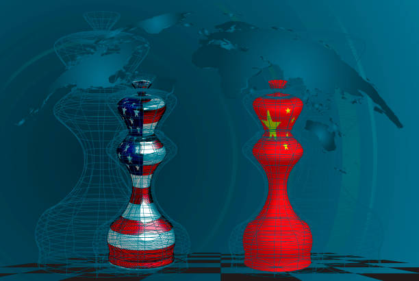 Trade war between USA and China, conceptual collage. chess queens with american and chines flags texture on a chessboard Trade war between USA and China, conceptual collage. chess queens with american and chines flags texture on a chessboard trade war stock illustrations