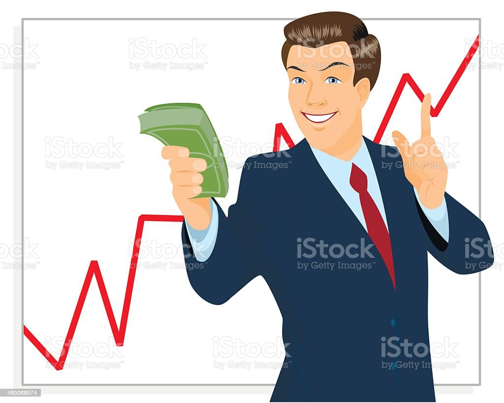 Trader holding bundle of money vector art illustration