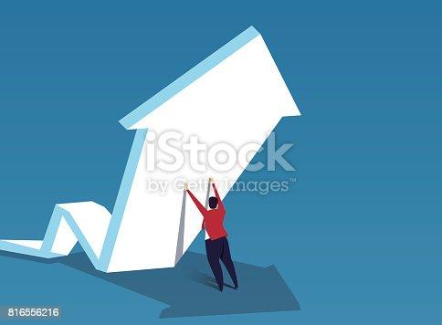 istock Trader push the arrow upward 816556216