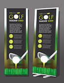 Tradeshow banner Golf elements theme template design sample design. Tradeshow display, convention, generic design, background, backgrounds. Sample text design. Columns, text. Illustrator eps 10 file with jpg. Body copy, headline, subheading. Golf, sports, golf club, tee off. Design flyer, poster advertisement. Brochure template, white background, isolated on white. Layout, bullets, premade, magazine layout, news, newsletter.