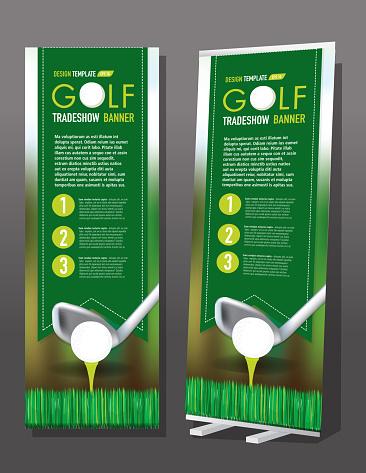 Tradeshow banner Golf elements theme template design