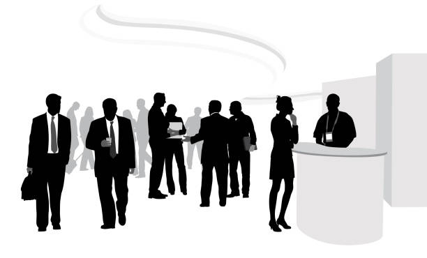 Exhibition Booth Vector Free Download : Royalty free trade show crowd clip art vector images