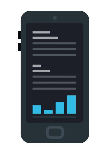 ilustraciones, imágenes clip art, dibujos animados e iconos de stock de aplicación de comercio para el icono vectorial del teléfono inteligente aislado plano - corredor de bolsa