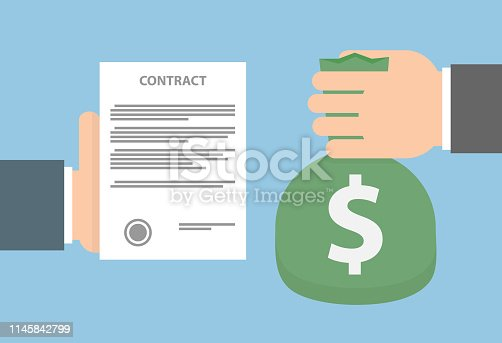 Hand holding a contract paper and another hand holding a green bag with a dollar sign on it