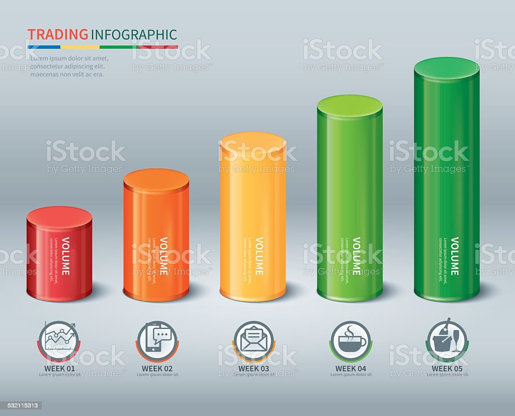 trading cylindrical bars infographic vector art illustration