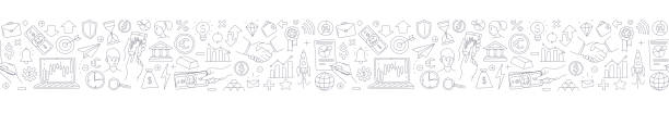 Trading exchange seamless border pattern background. Vector illustration doodles Trading exchange seamless border pattern background. Vector illustration doodles, thin line art sketch style concept banking borders stock illustrations