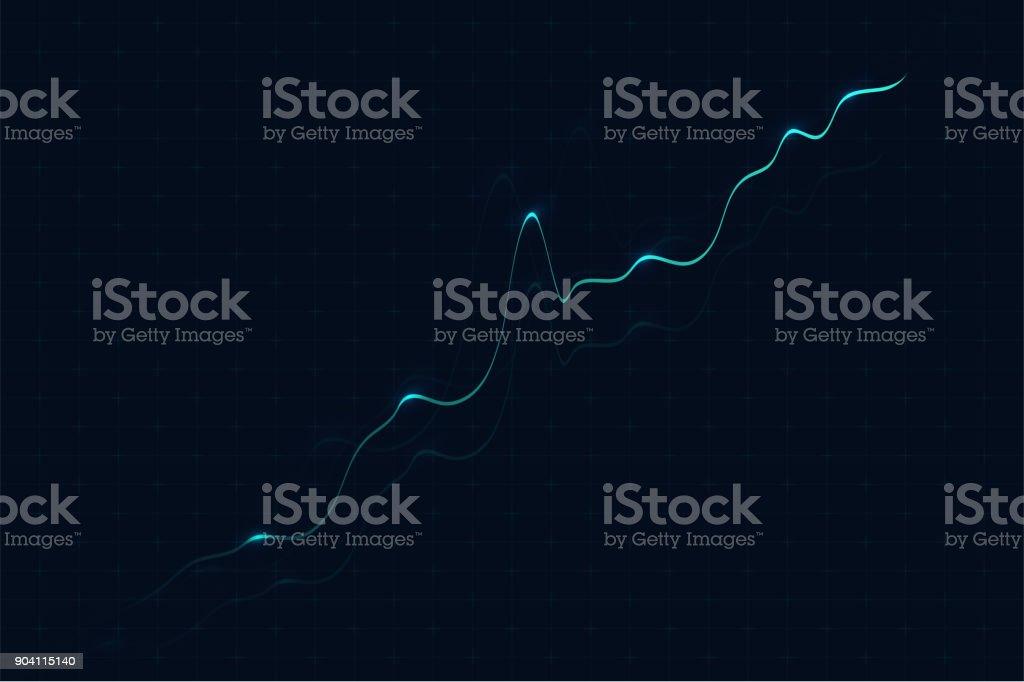 グラフィック背景を取引します。デジタル グラフィックと大きなデータの背景。収入、利益増加の概念 ベクターアートイラスト