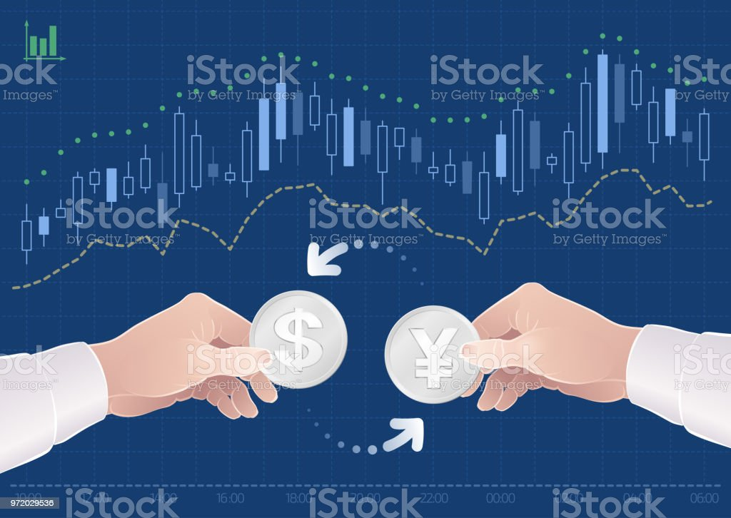 Trading Of Currency Pair Between The Dollar And The Japanese Yen On The Forex Market vector art illustration