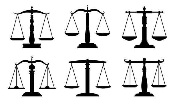 Trading or law scales icons vector art illustration