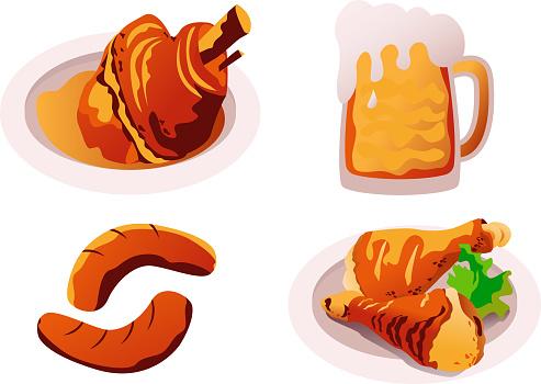 tradition bavarian food .pork knuckle,beer,sausages and chicken legs.vector illustration for oktoberfest