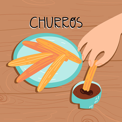 Tradition Spanish and Portuguese dessert Churros vector illustration. A person hand hold a pastry sweet snack and dunking it in a chocolate sauce.