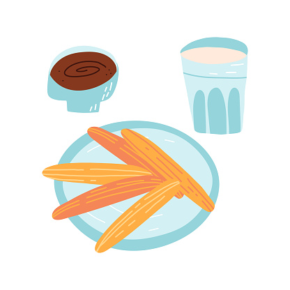 Tradition Spanish, Portuguese or Mexican dessert set. A pastry sweet snack on a dish, chocolate dip in a bowl and a glass of milk. Vector isolated food illustration.