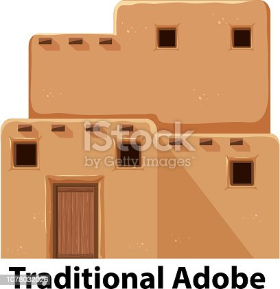 A traditional adobe house illustration