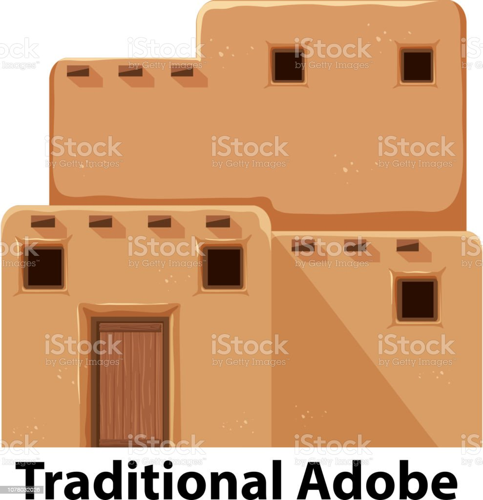 A traditional adobe house vector art illustration