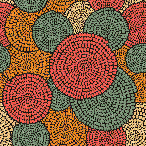 Traditional African Ornament with warm swirls. Seamless vector pattern. Hand drawn Traditional  African Ornamen. Stylized texture with arcs and circles. Plain warm  background for decoration or backdrop. bead stock illustrations