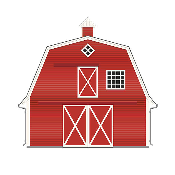 Traditional American Red Barn Isolated Vector Art Illustration
