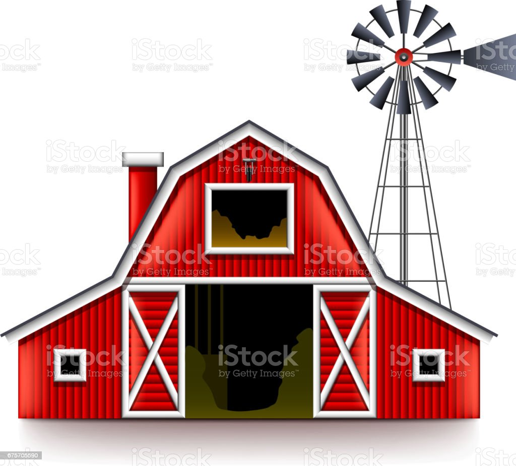 Traditional american red farm house isolated vector vector art illustration