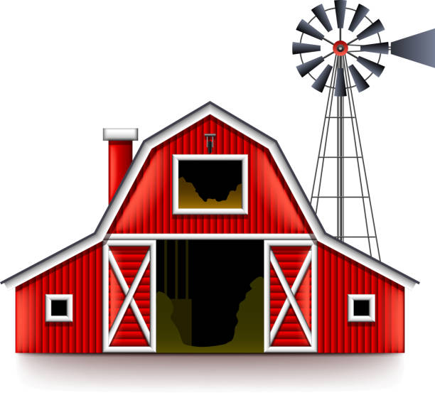 Traditional American Red Farm House Isolated Vector Art Illustration