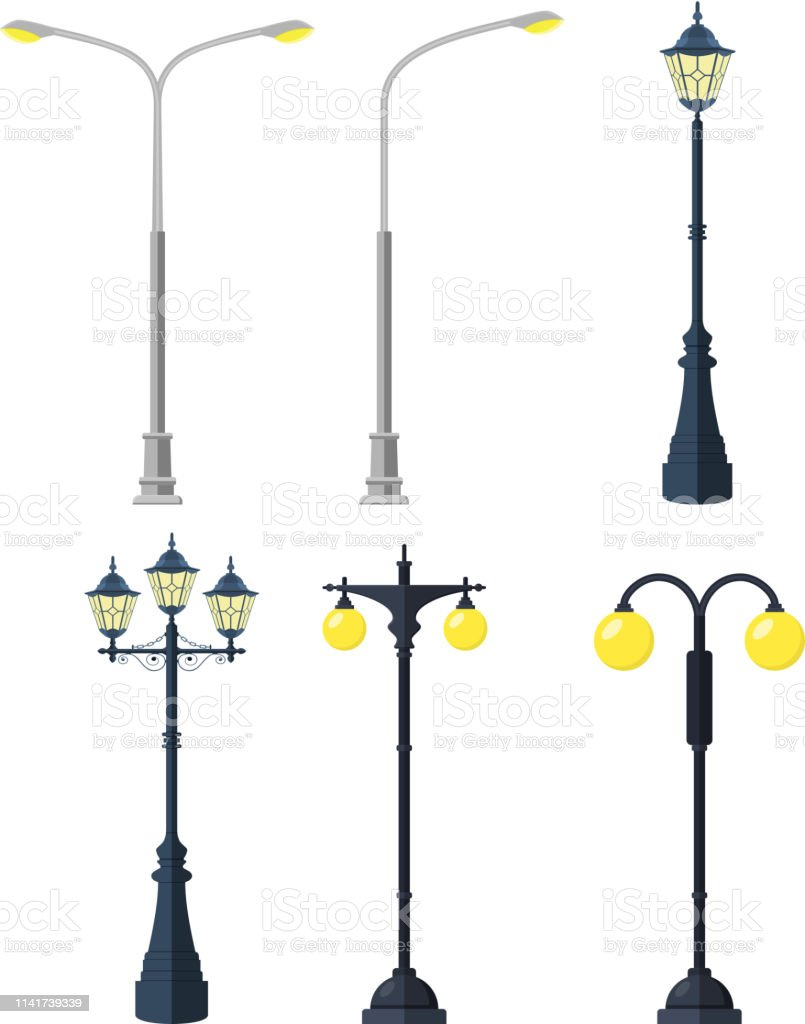 Traditional and Modern Outdoor Lamp Posts. Icon set isolated on white...