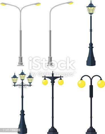 Traditional and Modern Outdoor Lamp Posts. Icon set isolated on white background. Vector illustration in flat style