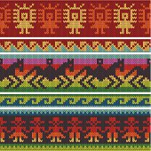 Seamless vector borders – traditional peruvian knitting design; elements are grouped