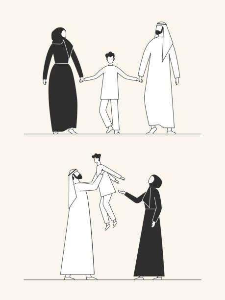 傳統的阿拉伯家庭, 穆斯林文化。男人、女人和孩子。平面向量例證。 - emirati woman 幅插畫檔、美工圖案、卡通及圖標