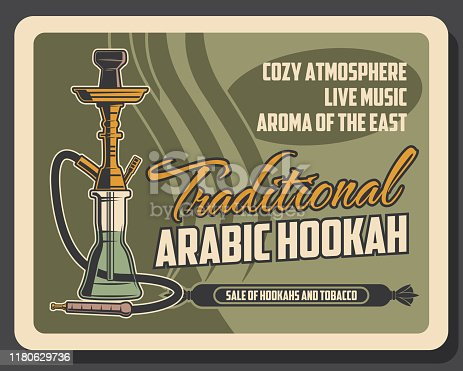 Hookah smoking lounge bar menu, premium tobacco shop vintage retro poster. Vector Arabic shisha or aroma nargile bar with live music, East and Oriental traditional smoking