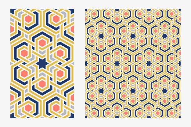 Traditional arabic islam geometric art. Single floor tile and arabesque seamless pattern. vector art illustration