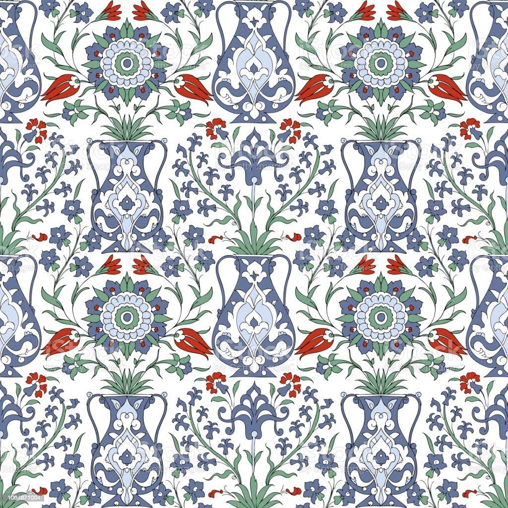 Ilustración de Ornamento árabe Tradicional Sin Costuras Floral ...