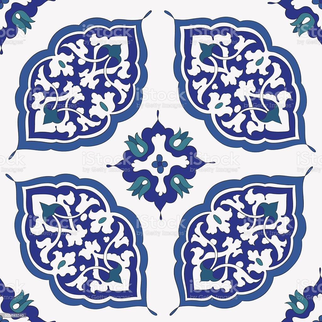 Traditional Arabic  ornament seamless. Floral Ornamental pattern. Iznik .Vector.  Background vector art illustration