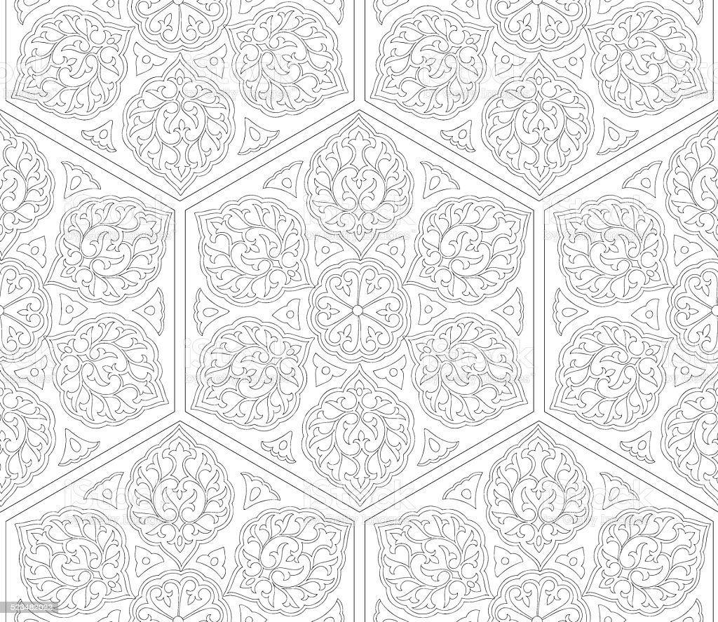 Traditional Arabic  ornament seamless. Floral Ornamental pattern. Iznik. Vector.  Background vector art illustration