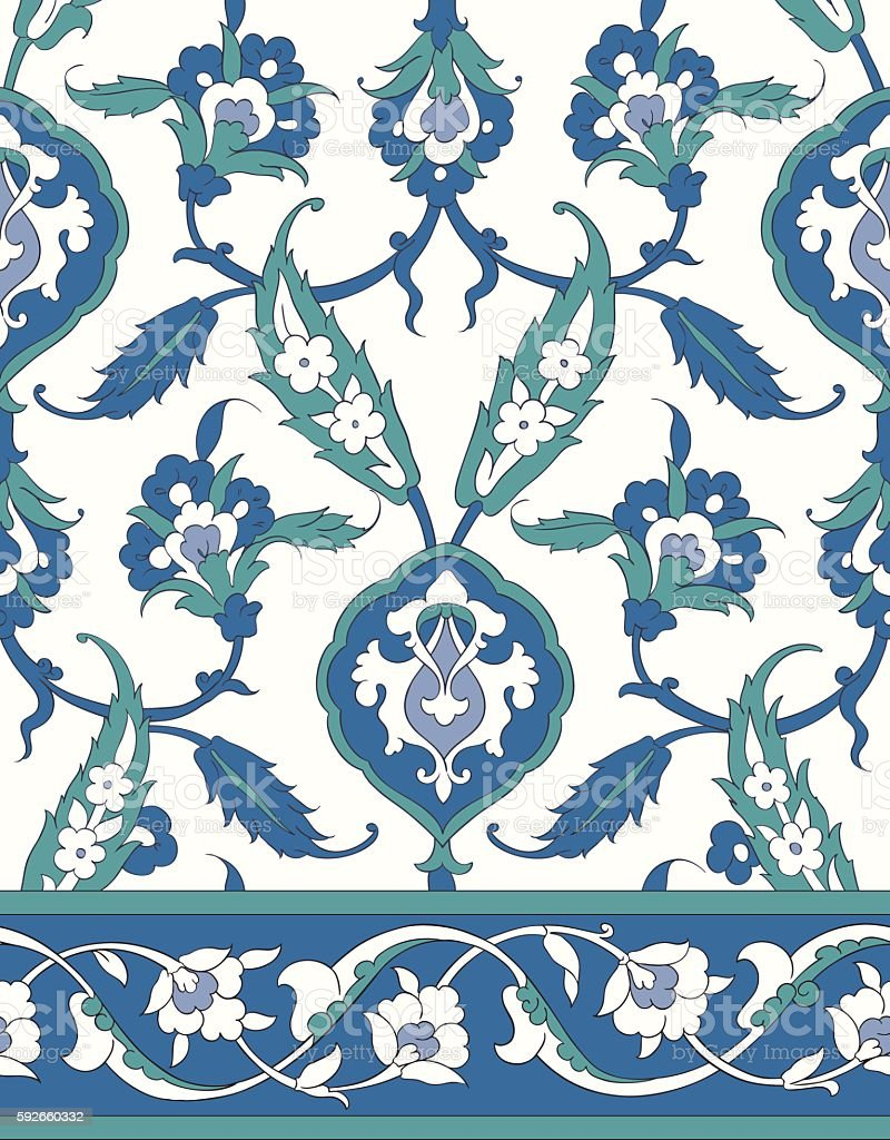 Traditional Arabic ornament seamless for your design. Desktop wallpaper. Iznik. royalty-free