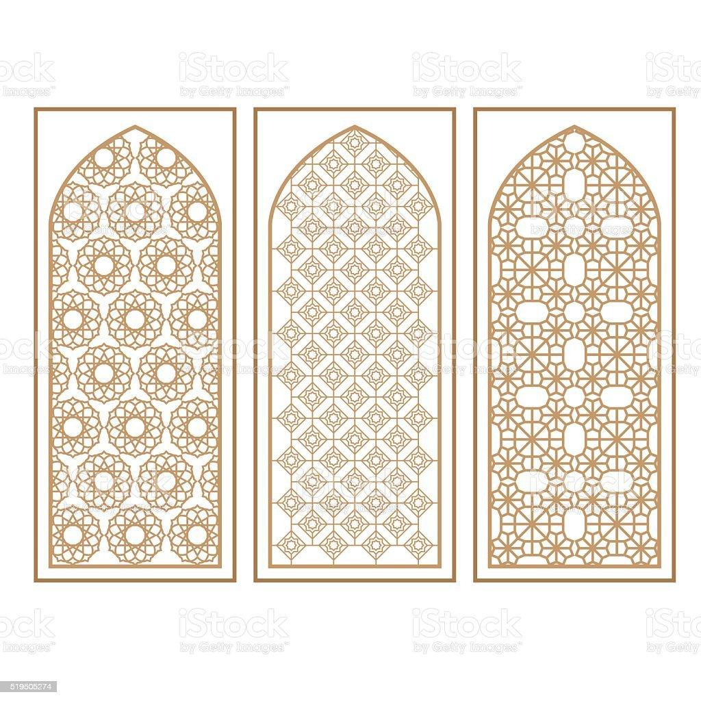 Traditionelle Arabische Fenster Und T Ren Muster Vektorset