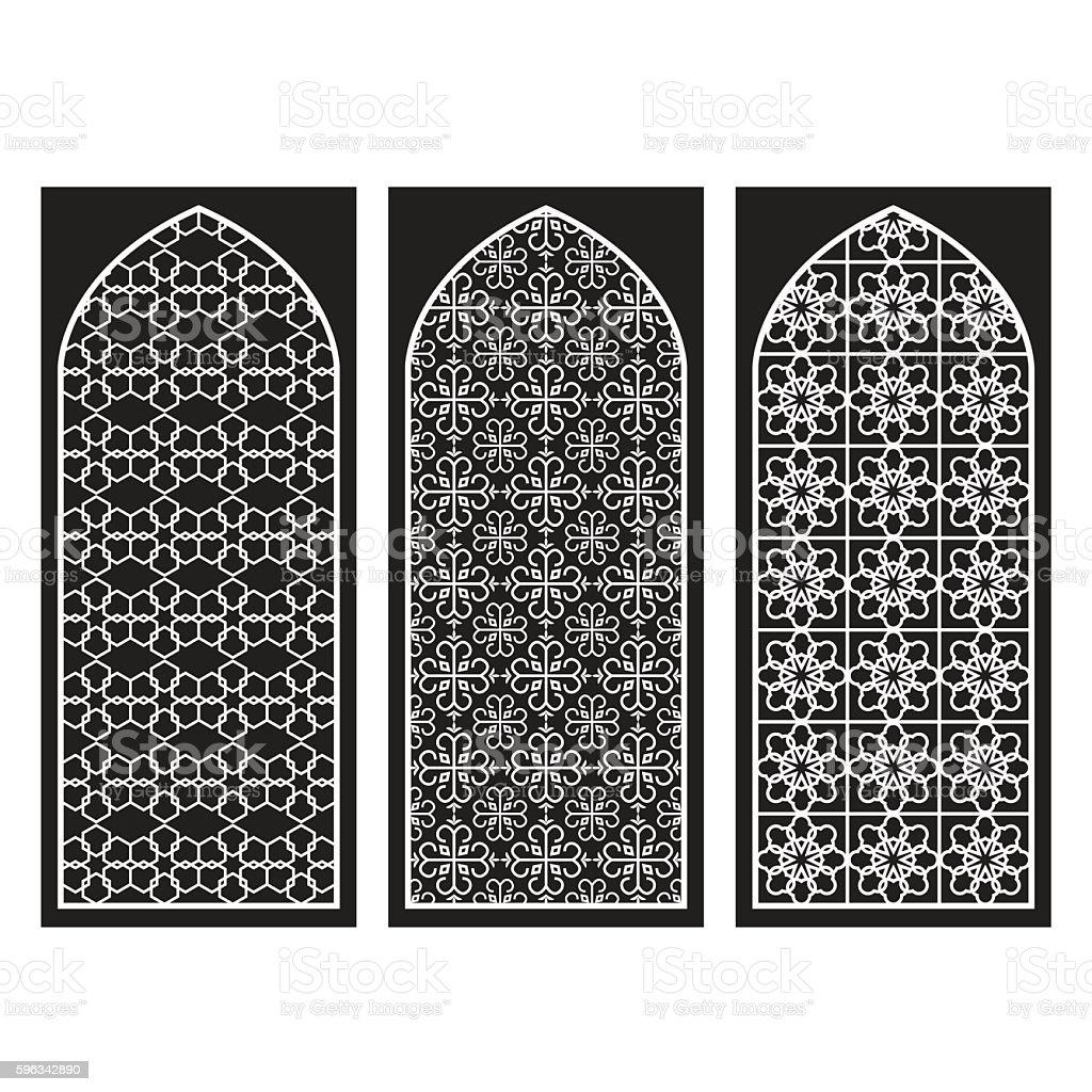 Traditionelle arabische Fenster und Türen Muster, Vektor-set Lizenzfreies traditionelle arabische fenster und türen muster vektorset stock vektor art und mehr bilder von arabien