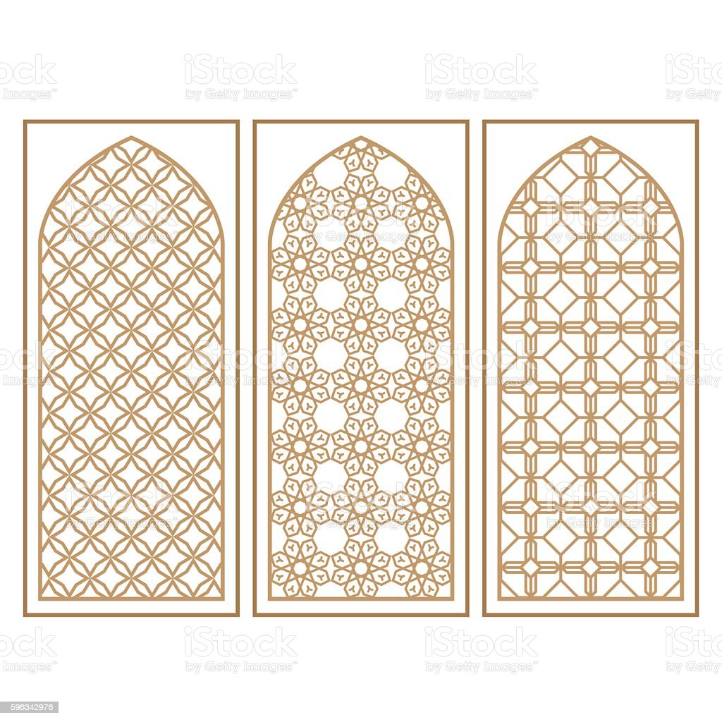 Traditional Arabic Window and Door Pattern, vector set royalty-free traditional arabic window and door pattern vector set stock vector art & more images of arabia