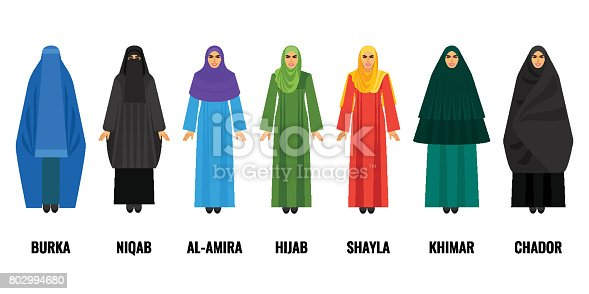 Traditional Arabic women clothing. Blue burqa, black niqab, purple al-amira, green huab, yellow shayla, emerald khimar and dark chador vector illustration