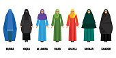 Traditional Arabic women clothing isolated cartoon illustrations set
